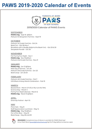 PAWS 2019-2020 Calendar of Events