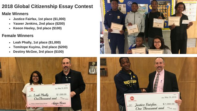 winners of the 2018 Global Citizenship Essay Contest.