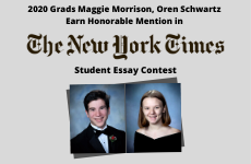 Class of 2020 Grads Earn Honorable Mention in New York Times' Student Editorial Contest