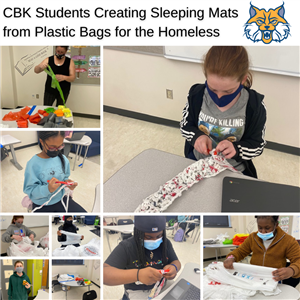 CBK Students Create Sleeping Mats for the Homeless