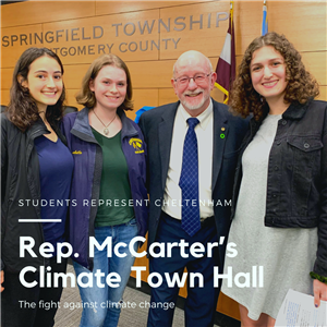 Students Represent Cheltenham at Rep. McCarter's Climate Town Hall