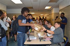 Students receive chromebooks
